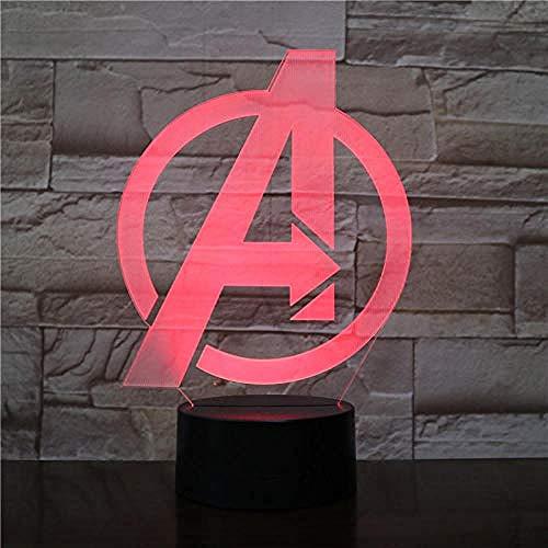 Marvel Figure Projektionslampe Fernbedienung 3D Tischlampe Avengers Party Dekoration Nachtlicht 7Color Touch Black Base USB Boys Wiederaufladbare Mädchen Geschenke Dekor für Büro-Studienläden