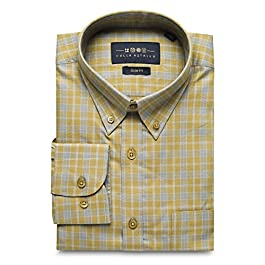 Collar Tales Men's Checkered Superfine Cotton Slim Fit Narrow Collar Button Down Long Sleeve Multi-Check Shirt with Pocket