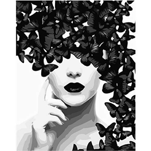 BALIWANLSY Puzzles De 1000 Piezas para Adultos, Montaje De Madera Jigsaw Puzzles, Ilustración De Mariposa Y Mujer En Blanco Y Negro, Arte Moderno