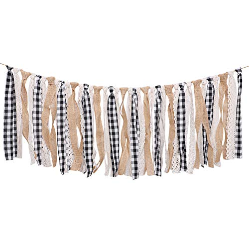 Aneco Buffalo Plaid Tassel Garland Lace Burlap Banners Rag Tie Banners Rustic Banner for Wall Decoration, 6.7 Feet