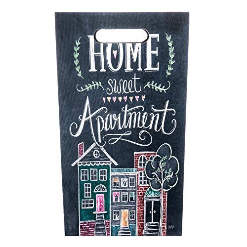 Rebecca Mobili Regenschirmständer Schirmständer Dunkelgrau MDF Canvas Home Sweet Apartment Vintage Wasserauffangschale - 40 x 24 x 24 cm (H x B x T) - Art. RE6148