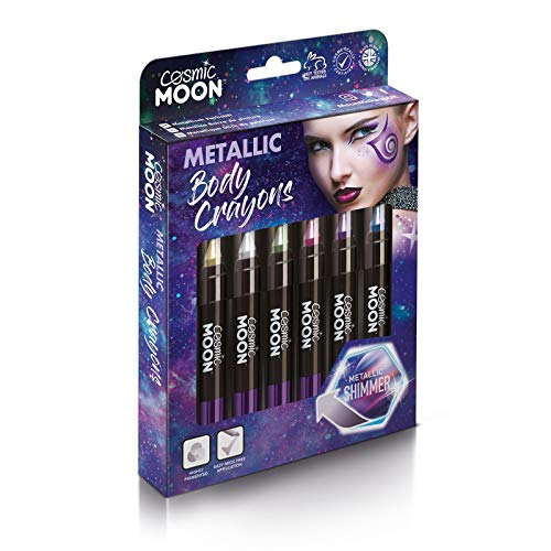 Cosmic Moon - Bâton de maquillage métallisé pour le visage et le corps - 3.5g - Créez facilement des motifs métalliques comme un pro! - Cofrett - Inclut: Rose, Or, Bleu, Vert, Argent, Violet