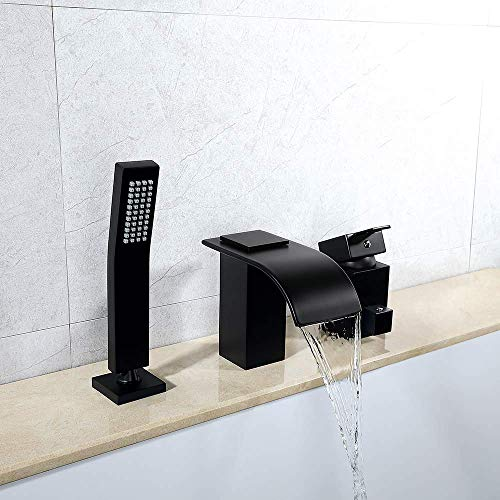 KUNMAI Deck Mount Tub and Shower Faucet,Matte Black Roman Bathtub Mixer Faucet with Pull Out Hand Held Shower Head