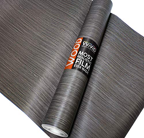 VViViD Dark Vintage Wood Natural Texture Architectural Vinyl Sheet Film Roll (16 Inch x 6.5ft Roll)