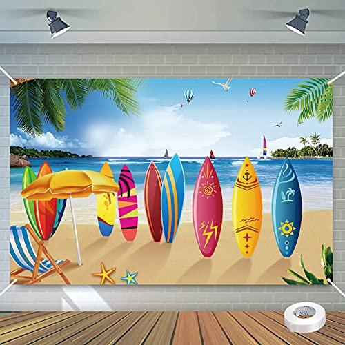 WEDNOK Aloha Banner Hawaii Party Dekoration Hintergrund Sommer Strand Hintergrundbanner, Extra Large Luau Pool Party Deko Photo Booth Sandstrand für Wand Garten BBQ Tiki Partydeko Tropischen 185x110cm