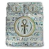 DOGCATPIG Juego de funda de cama con diseño geométrico clásico de Ankh egipcio, 4 piezas, para colegas blanco, 228 x 228...