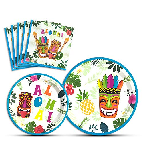 WERNNSAI Hawaiian Aloha Dinner Dessert Plates and Napkins - Luau Tropical Tiki Summer Pool Party Supplies Serves 16 Guests 48 PCS