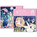 Georgie Porgy Dibujos Animados Puzzles Rompecabezas Multicolor Educativo Puzzles Juguetes Regalos Juegos para Nias Nios de 5 Aos en Adelante (100 PC) (Sirena + Pequea Princesa y Unicornio)