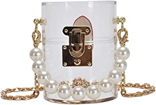 Lurrose Klar Acryl Geldbörse Perle Kette Mini Zylinder Schulter Tasche Kupplung Geldbörse Crossbody- Tasche für Frauen