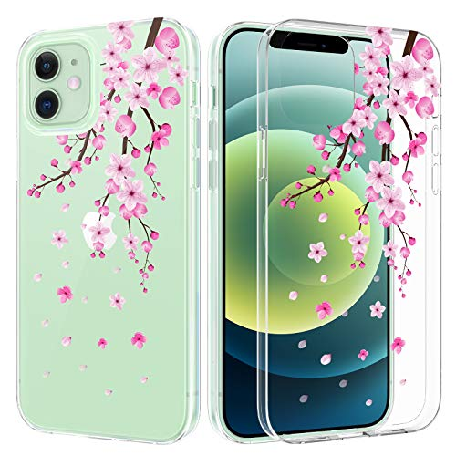 Caka Case for iPhone 12, iPhone 12 Pro Clear Case Flower Girly Girls Women Floral Blossom Slim Soft TPU Protective Clear Transparent Flower Case for iPhone 12 12 Pro (6.1 inches) (Cherry)