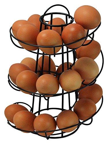 Egg Skelter Deluxe Spiraling Dispenser Rack Basket Storage Space Up to 24 Black