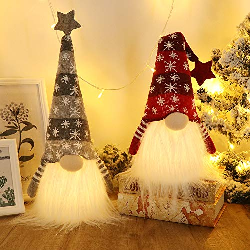GMOEGEFT Scandinavian Christmas Gnome Lights with Timer, Swedish Santa Tomte Gnome, Nordic Xmas Decoration - Set of 2 (Snowflake Pattern), 18.8 x 4.8 Inches