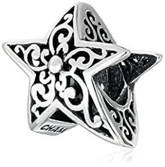 This sterling silver star has a detailed filigree design and light oxidized finish. Made in China Sterling Silver Imported