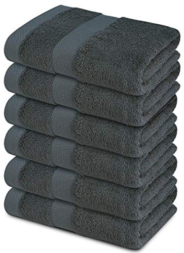 Cotton Bath Towels Set  Grey 24quot x 48quot Pack of 6 Ultra Soft 600 GSM 100% Cotton Large Bath Towel Grey Highly Absorbent Daily Usage Bath Towel Ideal for Pool Home Gym Spa Hotel