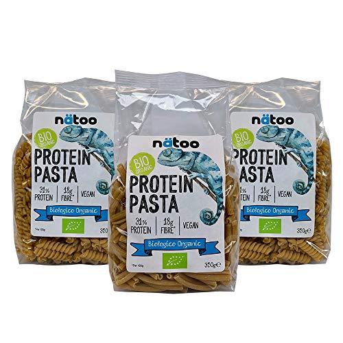 NATOO Pasta Proteica (31%) BIO - 3 pacchi da 350gr. - Pochi carboidrati - Zero zuccheri