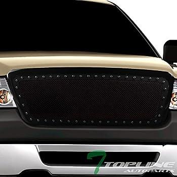 Topline Autopart Glossy Black RVT Rivet Bolt Steel Mesh Front Hood Bumper Grill Grille For 2004-2008 Ford F150