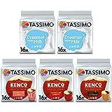 Tassimo Variety Pack Kenco Americano & Milk Creamer - (Pack of 5, Total 80 Coffee Capsules)