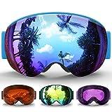 Gafas de Esquí Niños, eDriveTech Máscara Gafas Esqui Snowboard Nieve Espejo para Gafas de Nieve para Chicos Júnior Chicas Anti Niebla Gafas de Esquiar OTG Protección UV Magnéticos Esférica Lentes