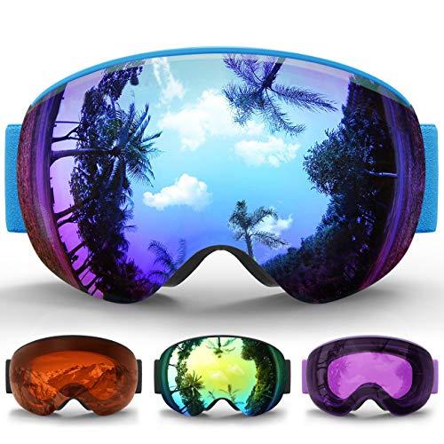 Maschera da Sci Bambino, eDriveTech Occhiali Maschera Sci Snowboard Neve Specchio per Bambina Bambini Ragazzo Ragazza EtàAntinebbia Antivento Occhiale Maschere da Sci Anti-UV OTG Magnetica Sferica