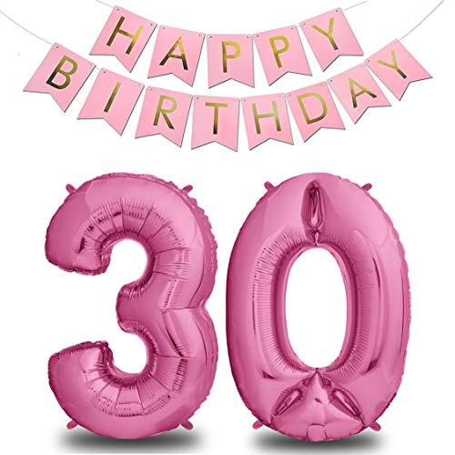 envami XXL Folien-Luftballons Pink + Happy Birthday Girlande | Riesen Zahlen-Luftballons | 40