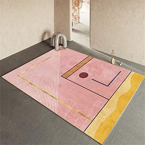 alfombra exterior terraza alfombra pequeña dormitorio Habitación infantil alfombra rosa rectangular moderna antideslizante y sin deformaciones alfombras para terrazas 80X120CM 2ft 7.5'X3ft 11.2'