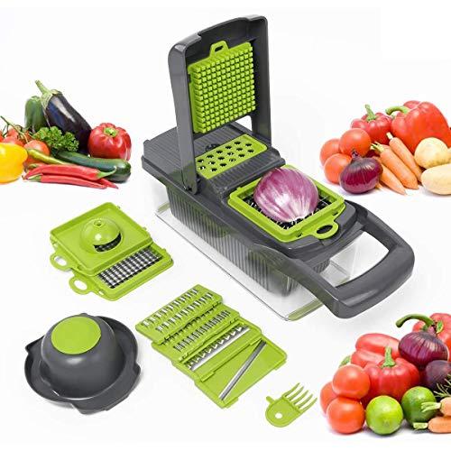 Food Chopper 8 in 1 Ui Chopper Groentesnijder Dicer, Aardappel Fruit en Kaassnijder, Verstelbaar keukengereedschap met multifunctionele messen