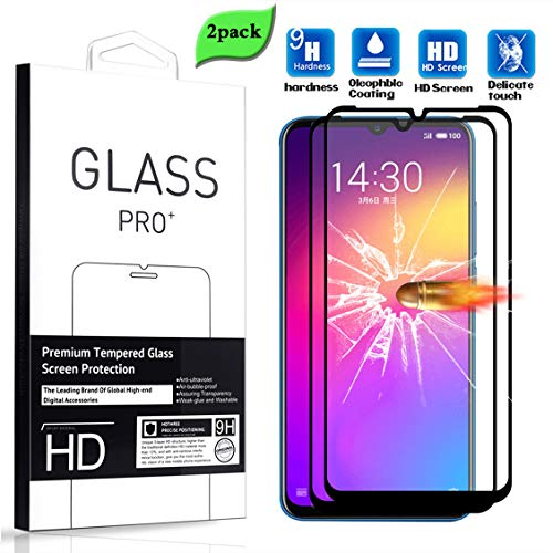 XUNYLYEE [2 Stück] Kompatibel mit Meizu Note 9 Schutzfolie, Panzerglas Schutzfolie Gehärtetem Glas [Volle Abdeckung] Displayschutz für Meizu Note 9 (6.2