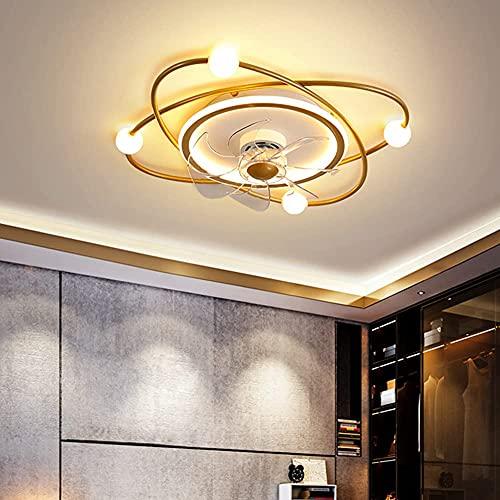 Ventilador de techo para dormitorio con luz LED y control remoto 3 velocidades con temporizador regulable ventilador de techo moderno sala de estar silencioso ventilador de techo, color dorado