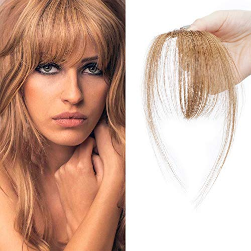 SEGO Clip in Fringe Bangs 100% Human Hair Extensions Clip in [Light Bangs] #6 Light Brown Clip on...