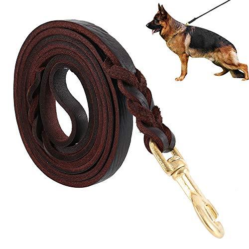 Dandelionsky Guinzaglio per Cani Intrecciato in Cuoio Vero Corda Regolabile di Addestramento per Cane Grande o Medio (200cm)