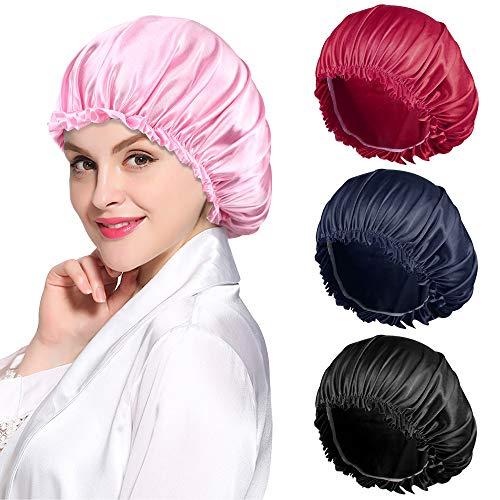ROYBENS 4PCS Satin Bonnet for Women Natural Curly Hair,A