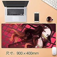 アニメKimetsuませんYaiba Nezuko Kamadoかわいい大型ゲーミングマウスパッドデスクマットロングノンスリップゴムステッチは、ノートパソコンのアニメ悪魔スレイヤーKimetsuんYaiba 90 * 40センチメートルのために日本のアニメマウスパッドをエッジ (サイズ: 3mm)