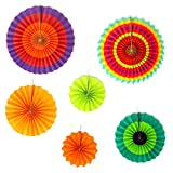 Big Mo's Toys Paper Fans – Green Yellow and Orange Mexican Fiesta Party Decorations Supplies Paper Fan Rosettes
