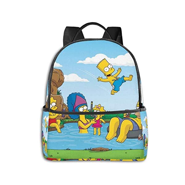 51Qaqlsq+uL. SS600  - Cartoon The Simpsons - Mochila para Estudiantes, Unisex, diseño de Dibujos Animados, 14,5 x 30,5 x 12,7 cm