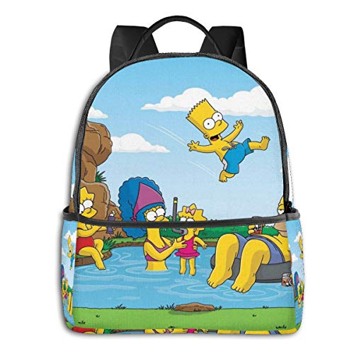 51Qaqlsq+uL - Cartoon The Simpsons - Mochila para Estudiantes, Unisex, diseño de Dibujos Animados, 14,5 x 30,5 x 12,7 cm