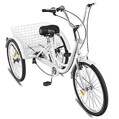 Zunjikelon Adult Tricycle 1/7 Speed with Cargo Basket Three Wheel Cruiser Bike,Multiple Speeds for Seniors,Women,Men,24 inch Wheels,Bicycles Trike Leisure Picnics & Shopping White