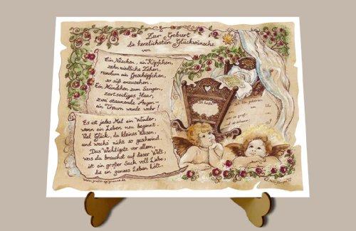 Die Staffelei Geschenk zur Geburt Engel Zeichnung Color 20 x 15 cm mit Aufsteller