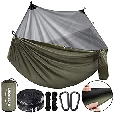 Overmont Camping Hammock with Mosquito Net Double Layer Backpacking Hammock with Bug Netting Lightweight Portable for Outdoors Adventure Hiking Travel with 9.8ft Tree Straps Max Load of 880lbs