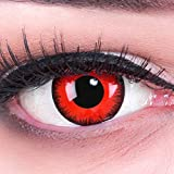 Funnylens Lenti a Contatto Colorate Rosse con Porta Lenti a Contatto Red Lunatic Demone Vampiro morbide comode da Indossare e Ideali per Halloween Manga Anime Cosplay o Carnevale Senza correzione