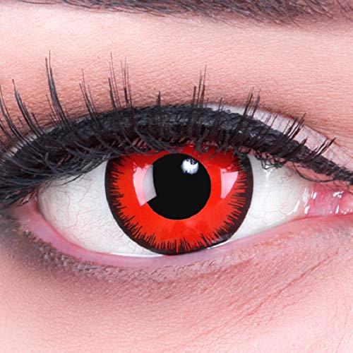 Farbige Funnylens rote Crazy Fun rote Kontaktlinsen Red Lunatic perfekt zu Fasching, Karneval und Halloween, Vampir, Demon Blut rot mit Behälter Topqualität zu Karneval und Halloween