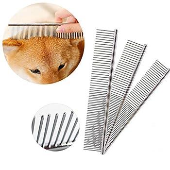 Peigne pour animaux de compagnie, pour chiens, chats et autres animaux avec différentes longueurs de poils Peignes en acier de galvanoplastie au chrome en 3 tailles (19 x 3 cm, 19 x 4 cm, 19 x 5 cm)