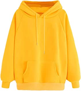 Libermall Womens Oversized Yellow Solid Drawstring Hoodies Long Sleeve Casual Pullover Hooded Sweatshirt Outwear