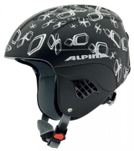 ALPINA–Kinder Skihelm Carat die, schwarz-Silber matt, 48-52