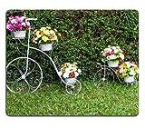 Mouse Pad Bicicleta con Borde De Bloqueo De Precisión, Inventor De Ambos Adornados con Hermosas Flores En La Hierba Alfombrilla para Mouse Personalizada Oblonga Premium con Bordes
