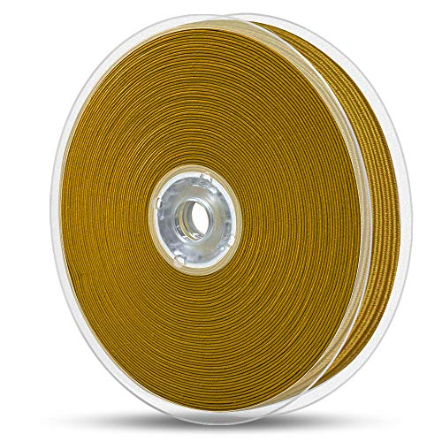 Elastic Bands for Sewing 1/8 inch, Hengiee Braided Elastic for Cuffs, Hairbands, Jewelry Making, Mask, Craft DIY Projects(Gold, 24 Yard)