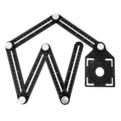 QWORK Multi-Angle Ruler, Aluminum Alloy Six-fold Measuring Ruler - Ceramic Tile Opening Positioner - Multi-angle 0pening Locator - Angle Template Tool