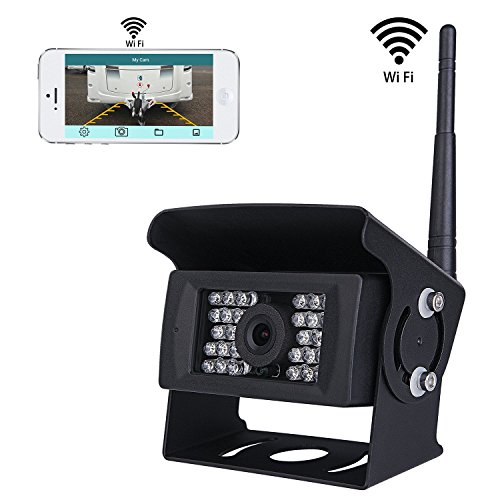 pumpkin1:Wireless Wifi Rückfahrkamera CCTV-System, 36V bis 12V IP69 Wasserdicht Super Night Vision 28 IRs leuchtet Rückfahrkamera mit Backup-Linie Monitor Kit kompatibel mit iPhone / iPad und Android