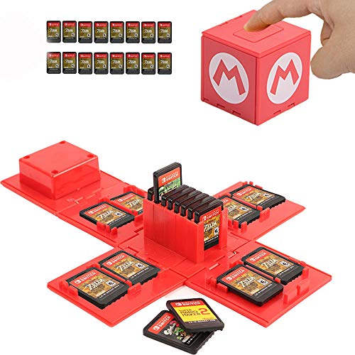 Nintendo Switch Game Card Case, Game Card Holder for Nintendo Switch Games with 16 Card Slots (Mario RED)