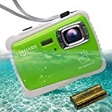 ISHARE Kids Camera Kids Waterproof Camera for Girls/Boys with 21MP HD Underwater Digital Camera 2.0' LCD, 8X Digital Zoom, Flash and Mic (Green with 2batteries)