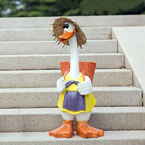 AWYJ Décoration de Jardin Cute Duck Sculpture Garden Creative extérieur Résine Artisanat Cartoon Décoration Ornement Animal Statue Jardin (Color : Multi-Colored, Size : 33x34x73cm)